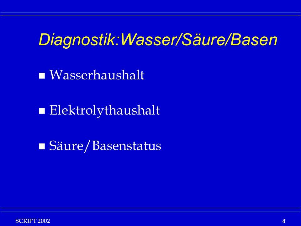 SCRIPT 2002 Vorlesung: Grundlagen Klinische Ernährung 4 Diagnostik:Wasser/Säure/Basen n Wasserhaushalt n Elektrolythaushalt n Säure/Basenstatus