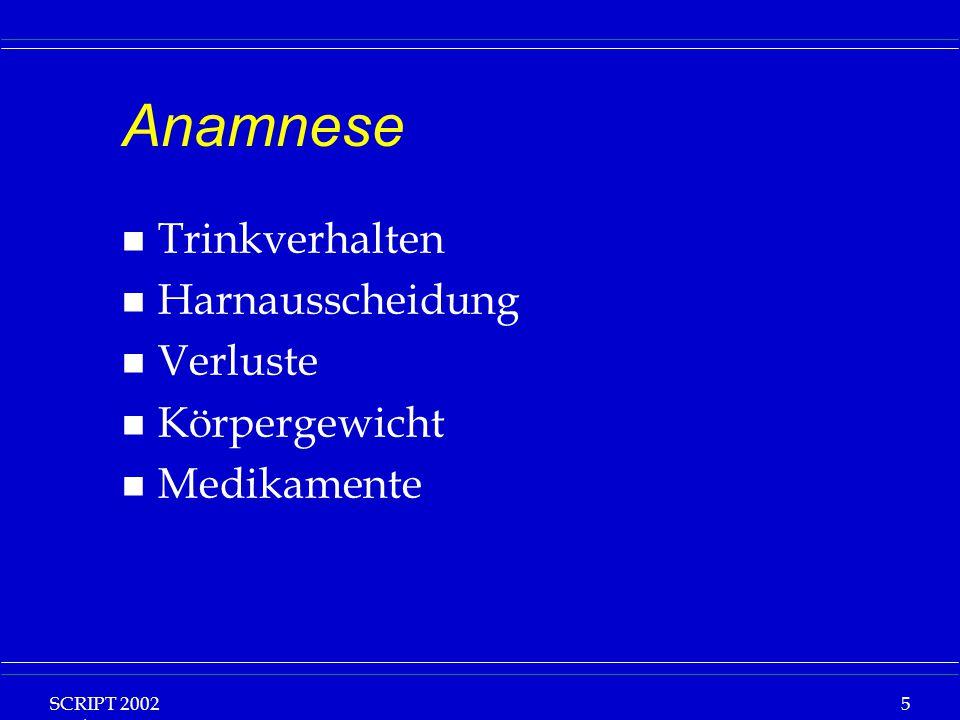 SCRIPT 2002 Vorlesung: Grundlagen Klinische Ernährung 6 Basisdaten n Ca 1000ml /24h perspiratio insensibilis n Ca.