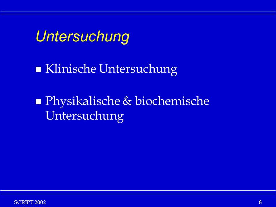 SCRIPT 2002 Vorlesung: Grundlagen Klinische Ernährung 19 Anthropometrische Messgrössen n Körpergrösse n Körpermasse n Bodymass index n Trizepshautfaltendicke n Oberarmumfang n Oberarmmuskelumfang
