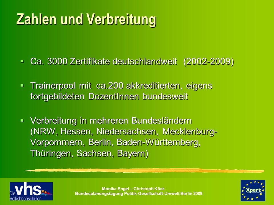 Monika Engel – Christoph Köck Bundesplanungstagung Politik-Gesellschaft-Umwelt Berlin 2009 Zahlen und Verbreitung  Ca. 3000 Zertifikate deutschlandwe