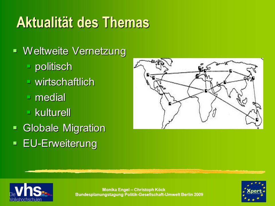 Monika Engel – Christoph Köck Bundesplanungstagung Politik-Gesellschaft-Umwelt Berlin 2009 Aktualität des Themas  Weltweite Vernetzung  politisch 