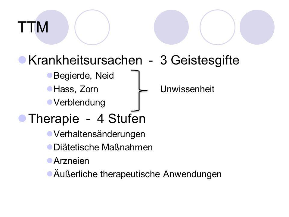 TTM Krankheitsursachen - 3 Geistesgifte Begierde, Neid Hass, Zorn Unwissenheit Verblendung Therapie - 4 Stufen Verhaltensänderungen Diätetische Maßnahmen Arzneien Äußerliche therapeutische Anwendungen