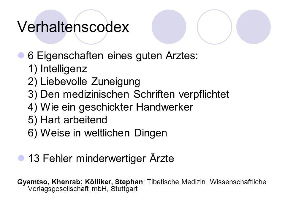 Verhaltenscodex 6 Eigenschaften eines guten Arztes: 1) Intelligenz 2) Liebevolle Zuneigung 3) Den medizinischen Schriften verpflichtet 4) Wie ein gesc