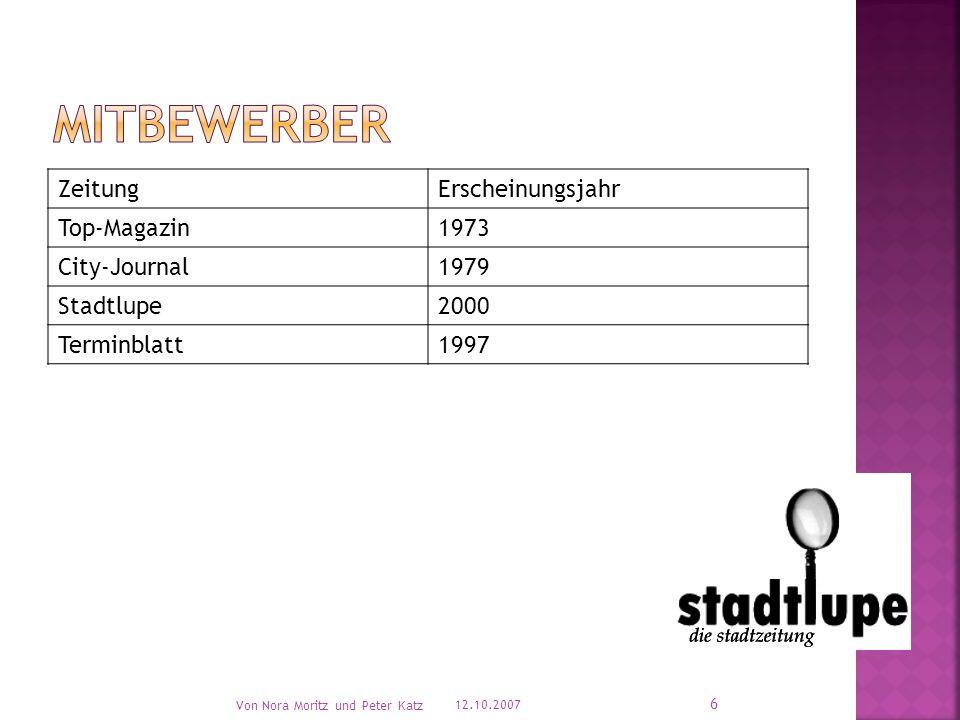 ZeitungErscheinungsjahr Top-Magazin1973 City-Journal1979 Stadtlupe2000 Terminblatt1997 12.10.2007 Von Nora Moritz und Peter Katz 6