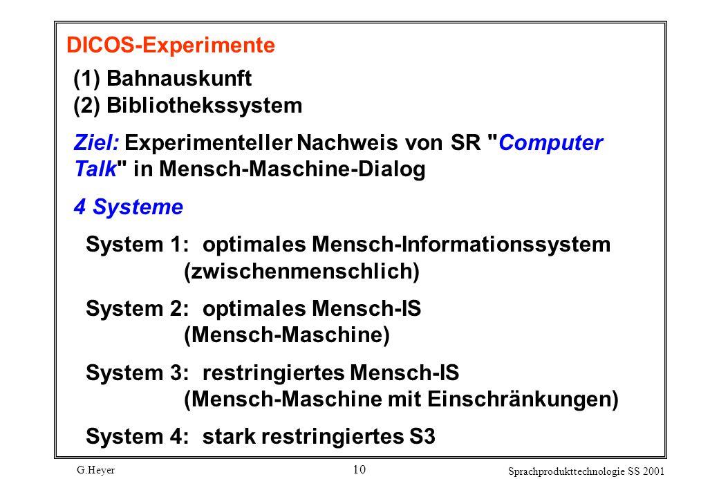 G.Heyer Sprachprodukttechnologie SS 2001 10 DICOS-Experimente (1) Bahnauskunft (2) Bibliothekssystem Ziel: Experimenteller Nachweis von SR Computer Talk in Mensch-Maschine-Dialog 4 Systeme System 1: optimales Mensch-Informationssystem (zwischenmenschlich) System 2: optimales Mensch-IS (Mensch-Maschine) System 3: restringiertes Mensch-IS (Mensch-Maschine mit Einschränkungen) System 4: stark restringiertes S3