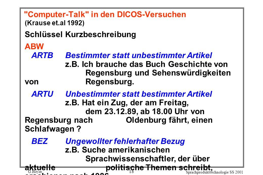 G.Heyer Sprachprodukttechnologie SS 2001 18 Computer-Talk in den DICOS-Versuchen (Krause et.al 1992) SchlüsselKurzbeschreibung ABW ARTBBestimmter statt unbestimmter Artikel z.B.