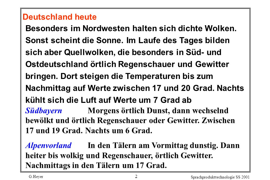 G.Heyer Sprachprodukttechnologie SS 2001 23 GENAÜberspezifikation durch ein Genitivattribut z.B.
