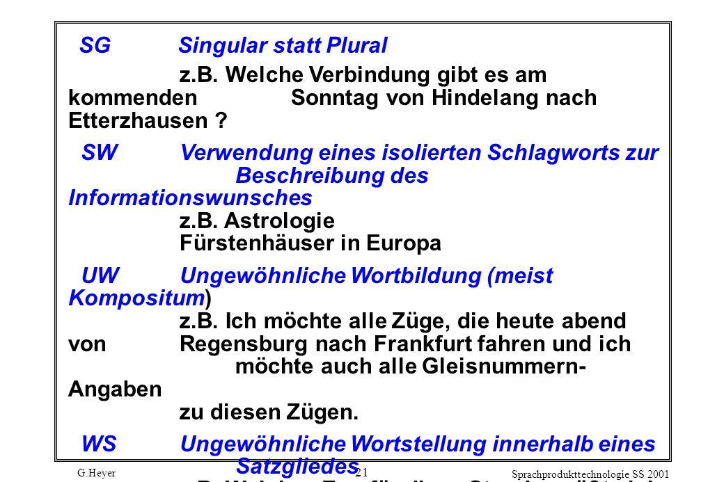 G.Heyer Sprachprodukttechnologie SS 2001 21 SGSingular statt Plural z.B.
