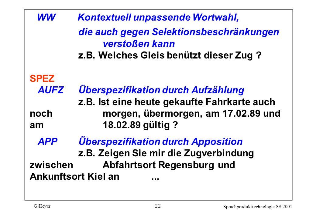 G.Heyer Sprachprodukttechnologie SS 2001 22 WWKontextuell unpassende Wortwahl, die auch gegen Selektionsbeschränkungen verstoßen kann z.B.