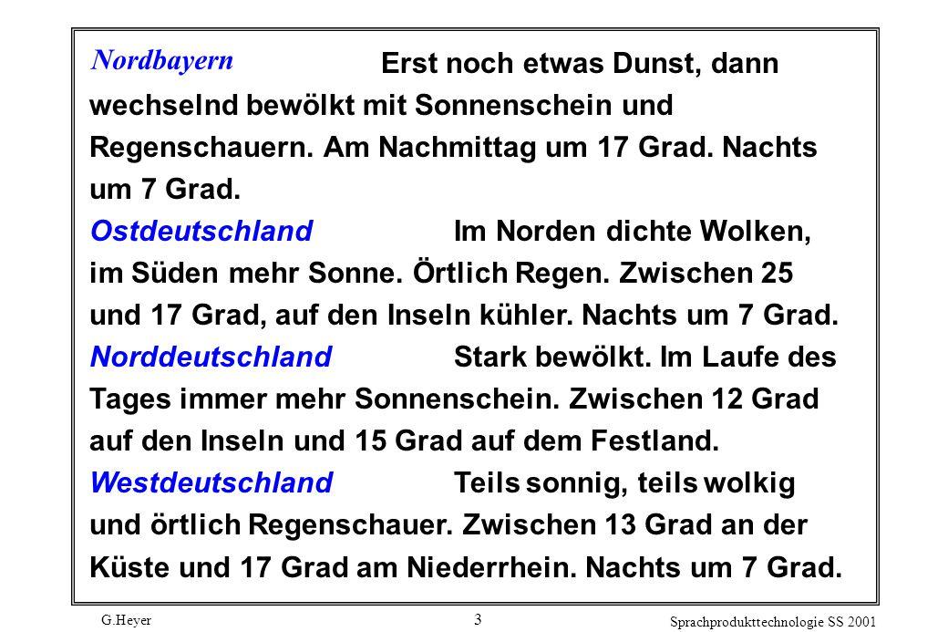G.Heyer Sprachprodukttechnologie SS 2001 3 Nordbayern Erst noch etwas Dunst, dann wechselnd bewölkt mit Sonnenschein und Regenschauern.