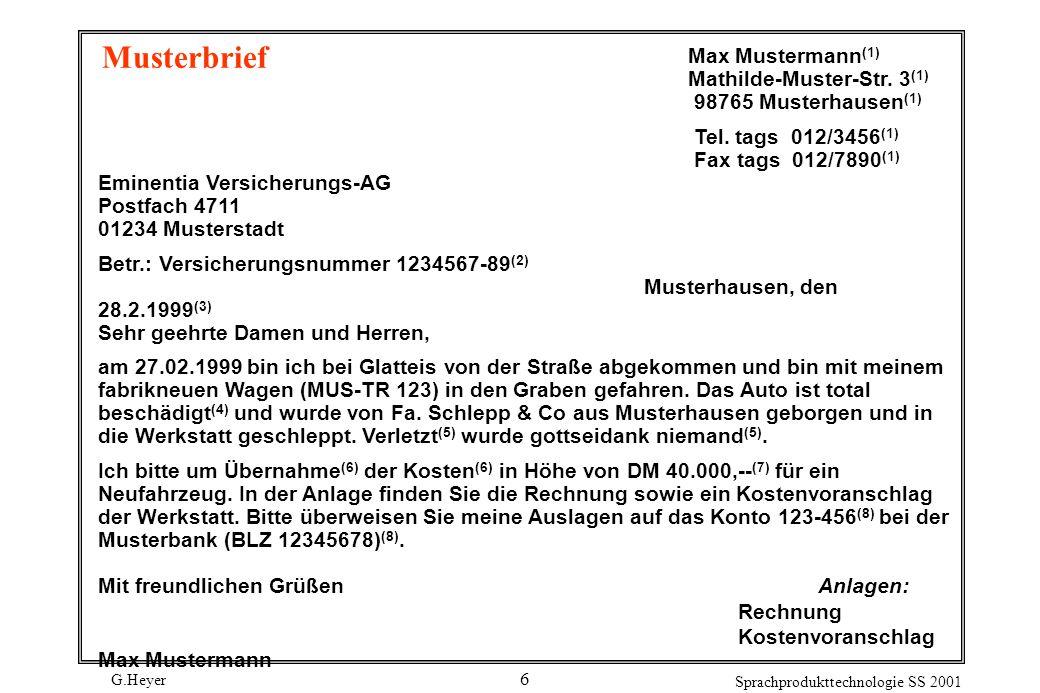 G.Heyer Sprachprodukttechnologie SS 2001 7 Kurze Firmenmeldungen Dürr AG, Stuttgart: Die Familie Heinz Dürr gibt auf Grund einer vorgezogenen Erbschaftsregelung fünf Prozent des Grundkapitals des Unternehmens an die BW- Kapitalbeteiligung GmbH in Stuttgart ab.