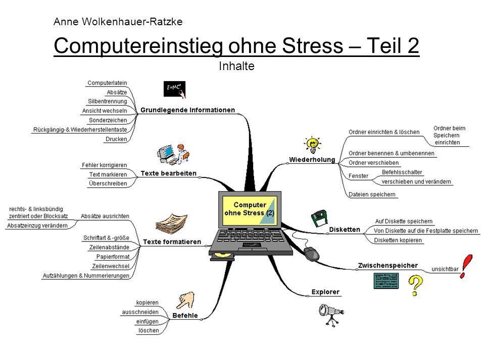 1 Computereinstieg ohne Stress – Teil 2 Inhalte Anne Wolkenhauer-Ratzke