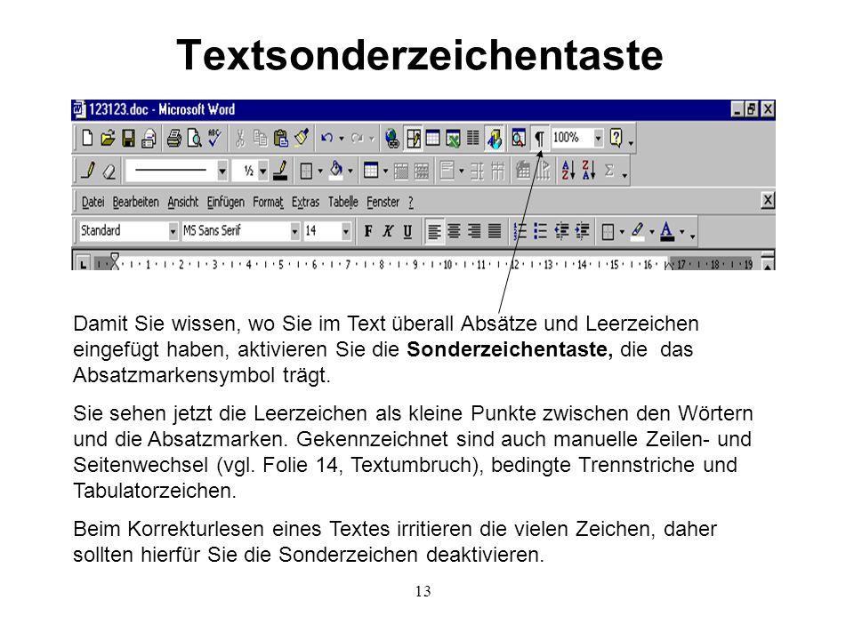 13 Textsonderzeichentaste Damit Sie wissen, wo Sie im Text überall Absätze und Leerzeichen eingefügt haben, aktivieren Sie die Sonderzeichentaste, die das Absatzmarkensymbol trägt.