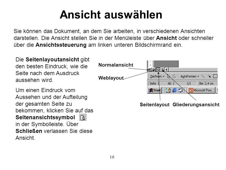 16 Ansicht auswählen Sie können das Dokument, an dem Sie arbeiten, in verschiedenen Ansichten darstellen.