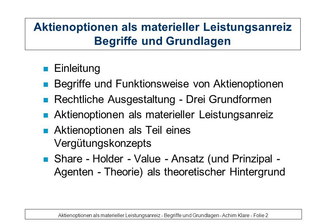 Aktienoptionen als materieller Leistungsanreiz - Begriffe und Grundlagen - Achim Klare - Folie 3 Aktienoptionen - Funktionsweise
