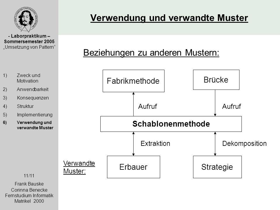 """Verwendung und verwandte Muster - Laborpraktikum – Sommersemester 2005 """"Umsetzung von Pattern"""" 1)Zweck und Motivation 2)Anwendbarkeit 3)Konsequenzen 4"""