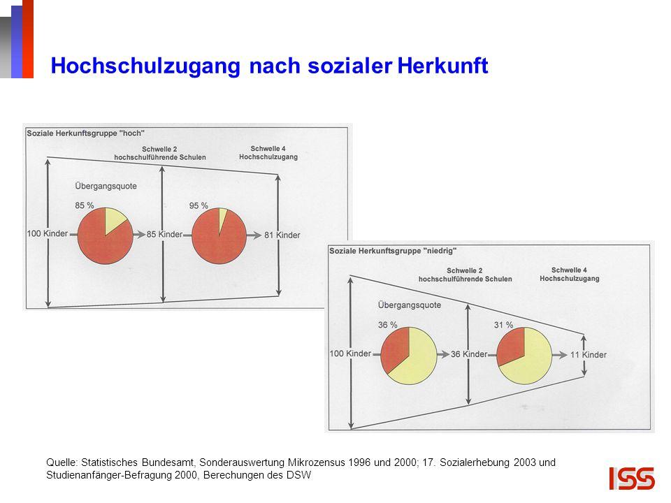 Hochschulzugang nach sozialer Herkunft Quelle: Statistisches Bundesamt, Sonderauswertung Mikrozensus 1996 und 2000; 17. Sozialerhebung 2003 und Studie