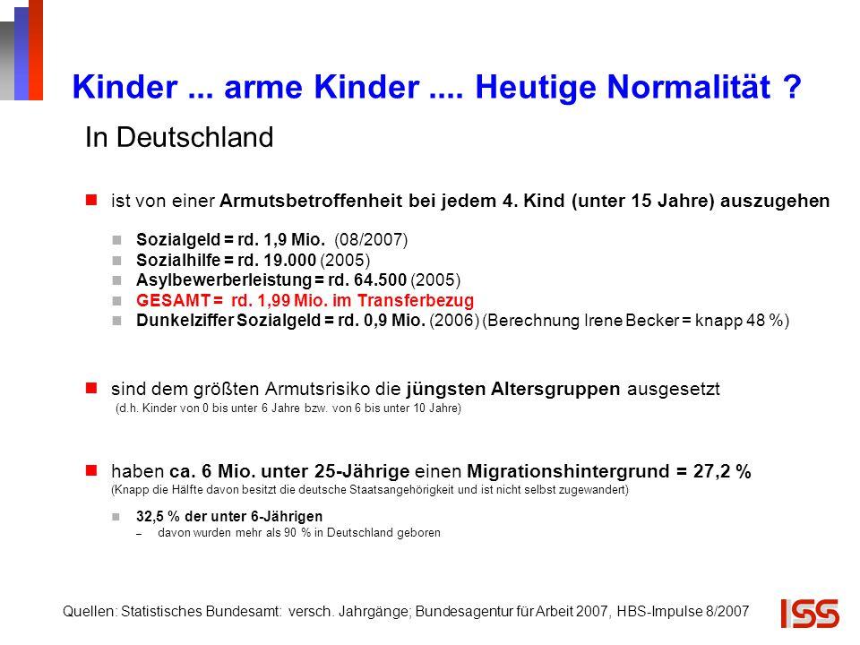 Kinder... arme Kinder.... Heutige Normalität ? In Deutschland ist von einer Armutsbetroffenheit bei jedem 4. Kind (unter 15 Jahre) auszugehen Sozialge