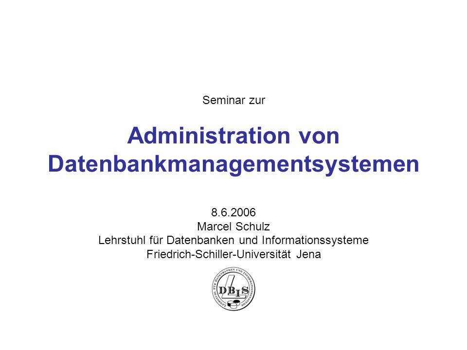 Administration von Datenbankmanagementsystemen Vortrag von Marcel Schulz 2 1.Einsatzgebiete von DBSs 2.Aufgaben und Anforderungen an DBSs 3.Architektur einer DBS 4.Aufgaben eines DBA Data Storage Management Maintaining Data Database Recovery Monitoring and Tuning 5.Lösungsansätze Gliederung des Vortrages