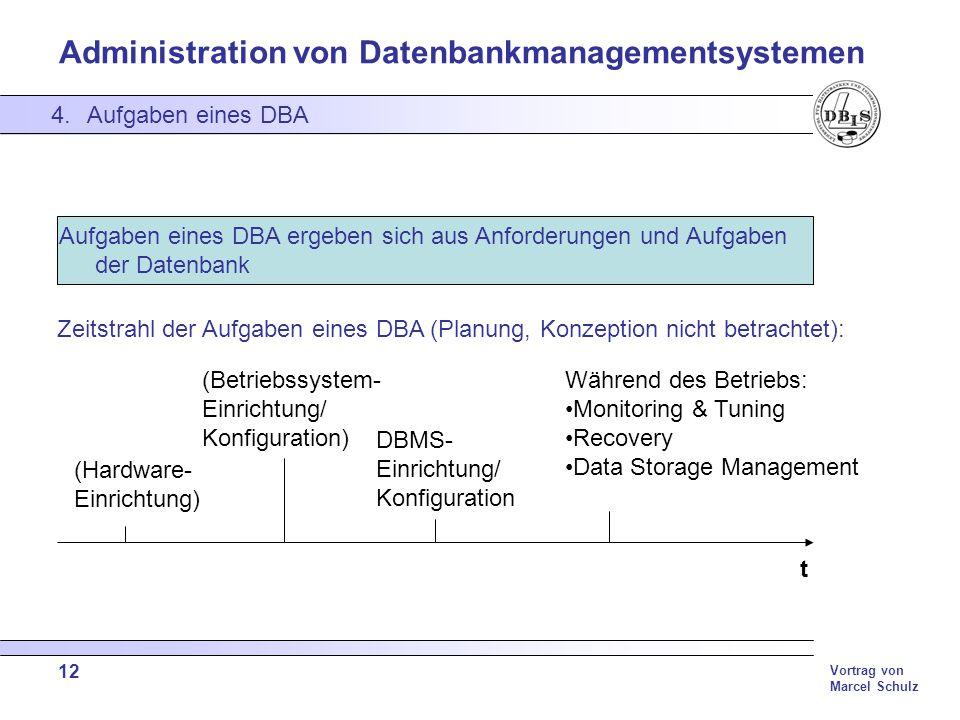 Administration von Datenbankmanagementsystemen Vortrag von Marcel Schulz 12 4.Aufgaben eines DBA Aufgaben eines DBA ergeben sich aus Anforderungen und