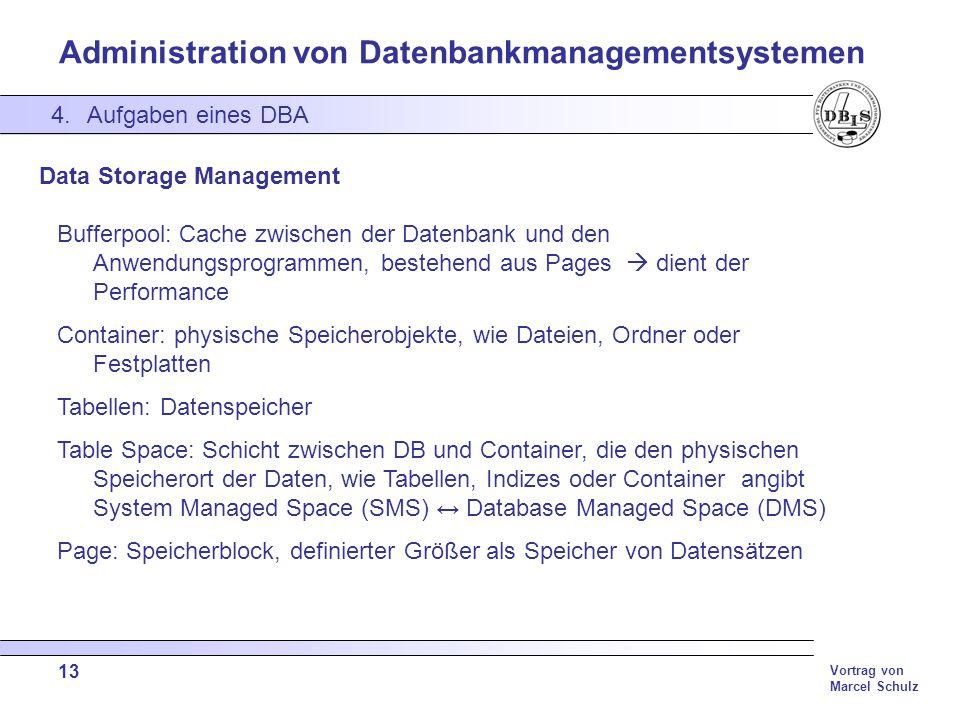 Administration von Datenbankmanagementsystemen Vortrag von Marcel Schulz 13 4.Aufgaben eines DBA Data Storage Management Bufferpool: Cache zwischen de