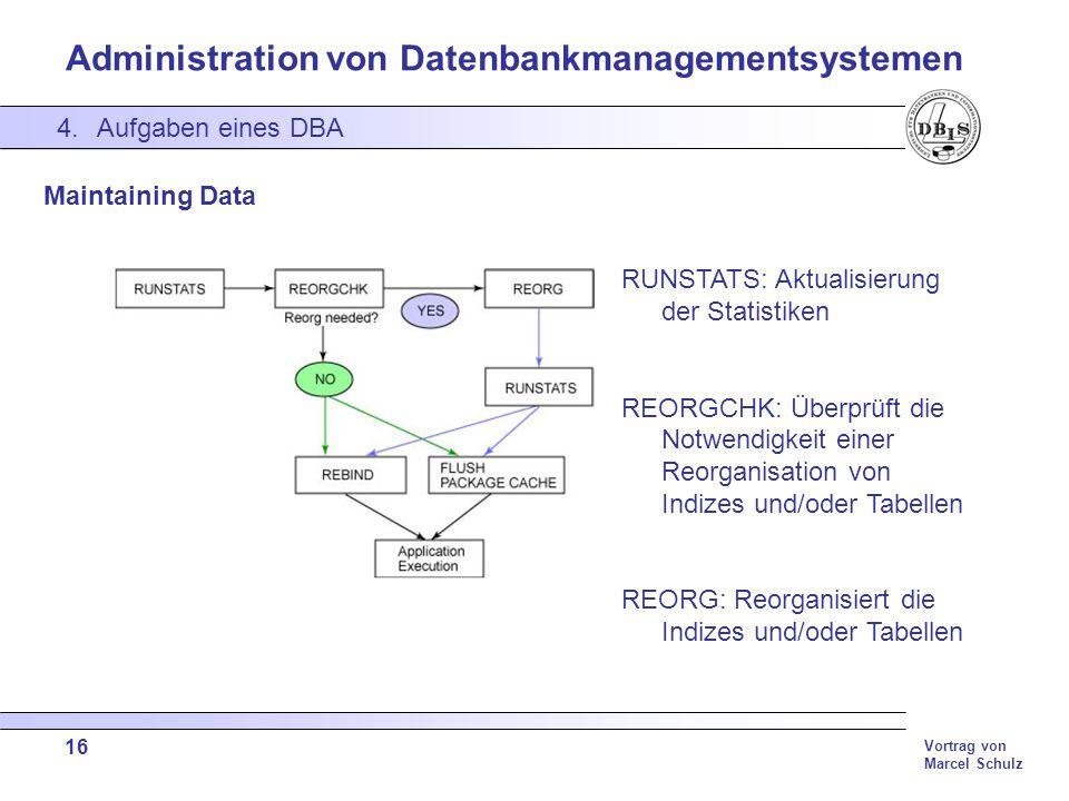 Administration von Datenbankmanagementsystemen Vortrag von Marcel Schulz 16 4.Aufgaben eines DBA Maintaining Data RUNSTATS: Aktualisierung der Statist