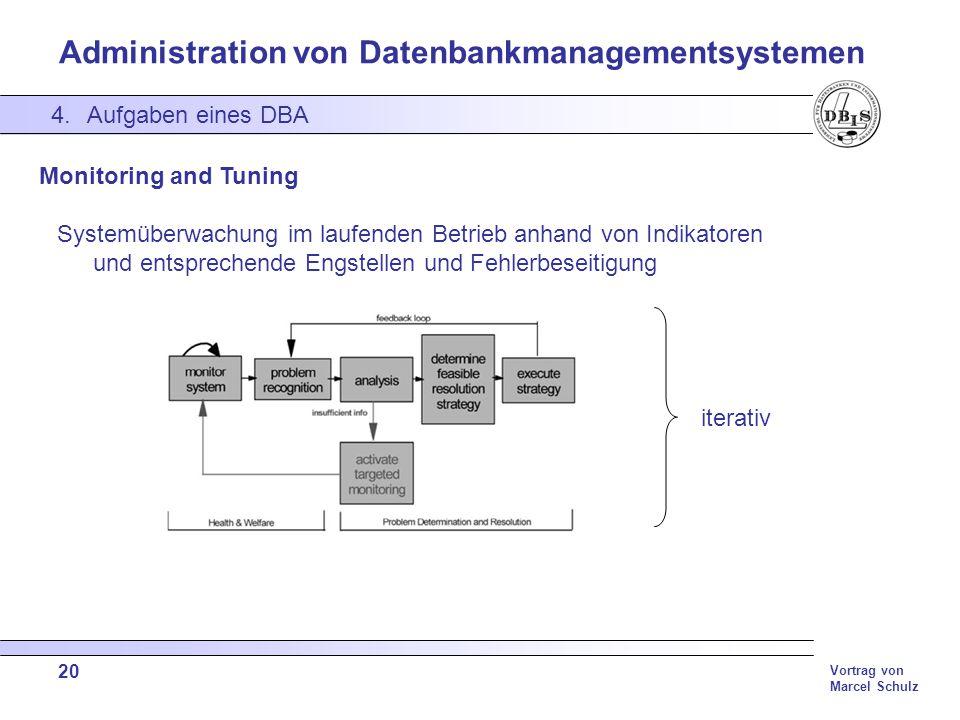 Administration von Datenbankmanagementsystemen Vortrag von Marcel Schulz 20 4.Aufgaben eines DBA Monitoring and Tuning Systemüberwachung im laufenden