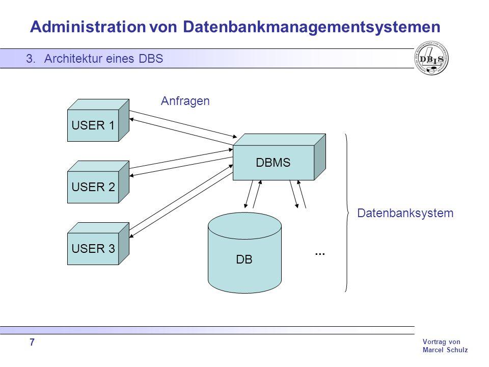 Administration von Datenbankmanagementsystemen Vortrag von Marcel Schulz 18 4.Aufgaben eines DBA Database Recovery (anhand von DB2) Verschiedene Konzepte zur Wiederherstellung von Datenbank(teilen): Crash Recovery: Verhindern von inkonsistenter Datenspeicherung durch unvollständige Units of Work Version Recovery: Zurücksetzen der kompletten Datenbank auf einen früheren Zeitpunkt des Datenbankbackups Roll-forward Recovery: Erweiterung der Version Recovery zusammen mit Log-Files  Wiederherstellung der Datenbank bzw.