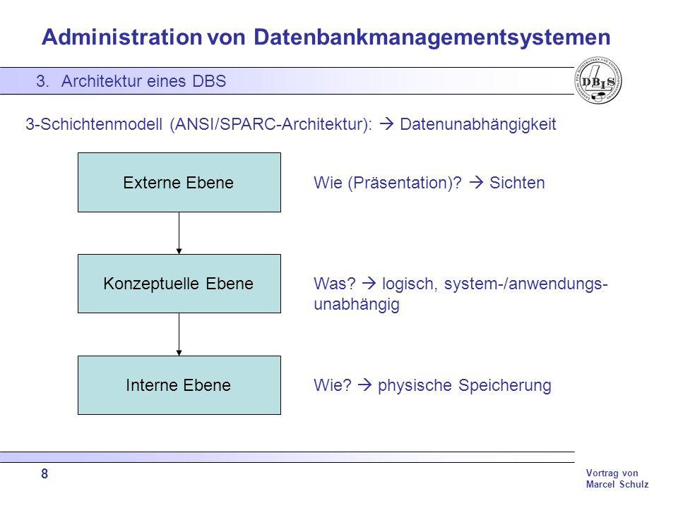 Administration von Datenbankmanagementsystemen Vortrag von Marcel Schulz 19 4.Aufgaben eines DBA Database Recovery (anhand von DB2) Wichtige Recovery Kommandos: Backup: erstellt Datenbankkopie Restore: stellt Datenbank mittels Datenbankkopie wieder her Rollforward: wiederherstellen der Datenbank zu beliebigen Zeitpunkt