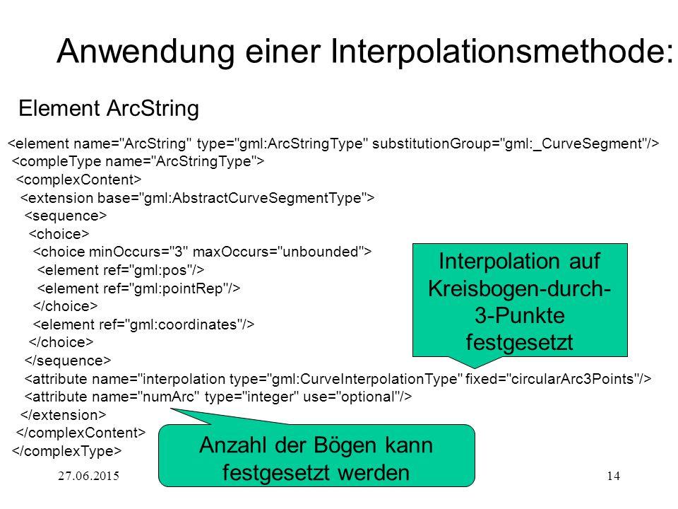 27.06.2015GML 3.014 Anwendung einer Interpolationsmethode: Interpolation auf Kreisbogen-durch- 3-Punkte festgesetzt Anzahl der Bögen kann festgesetzt werden Element ArcString