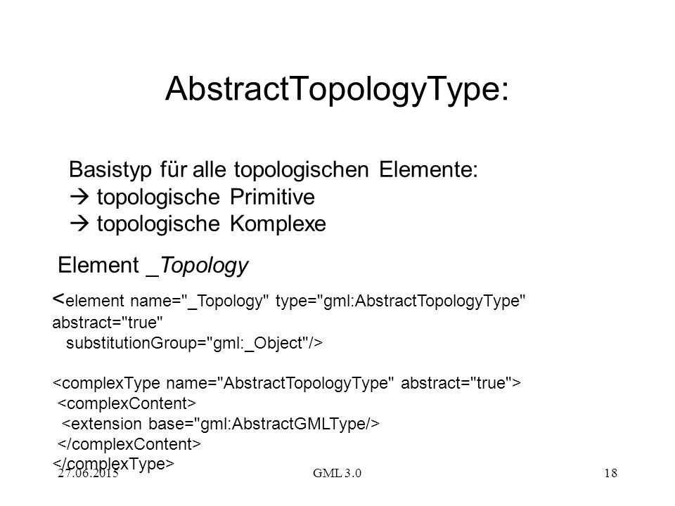 27.06.2015GML 3.018 < element name= _Topology type= gml:AbstractTopologyType abstract= true substitutionGroup= gml:_Object /> Basistyp für alle topologischen Elemente:  topologische Primitive  topologische Komplexe AbstractTopologyType: Element _Topology