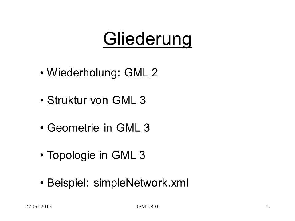 27.06.2015GML 3.02 Gliederung Wiederholung: GML 2 Struktur von GML 3 Geometrie in GML 3 Topologie in GML 3 Beispiel: simpleNetwork.xml