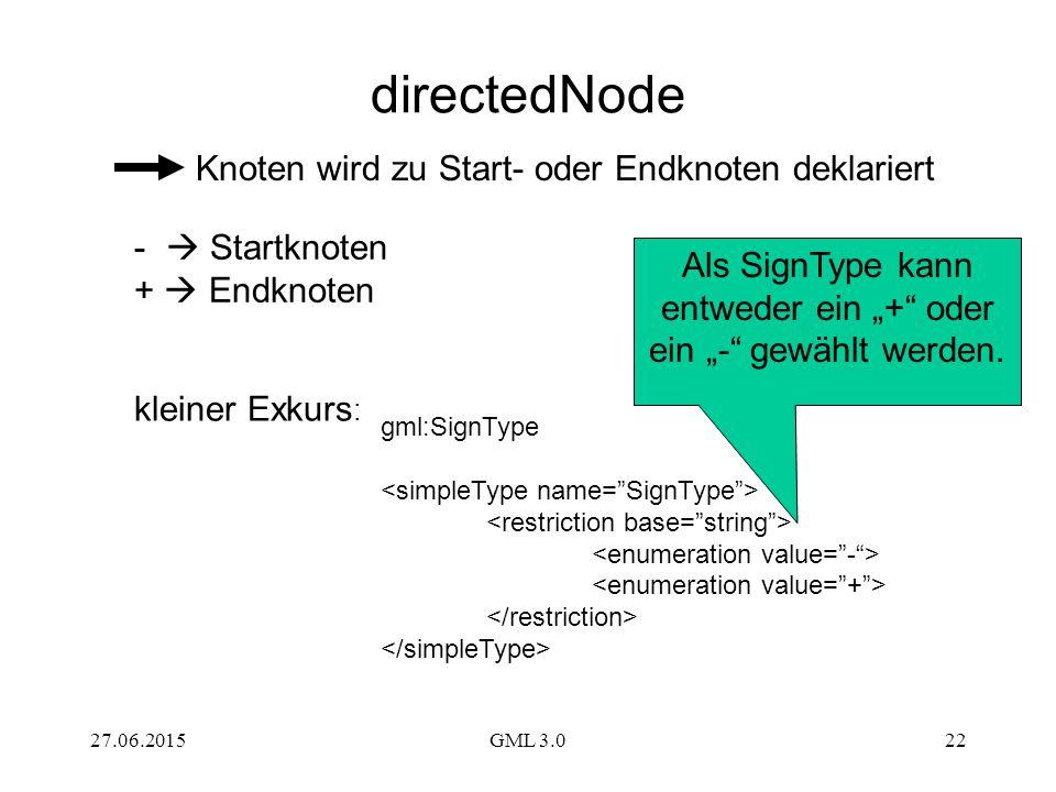 """27.06.2015GML 3.022 gml:SignType kleiner Exkurs : Als SignType kann entweder ein """"+"""" oder ein """"-"""" gewählt werden. directedNode Knoten wird zu Start- o"""
