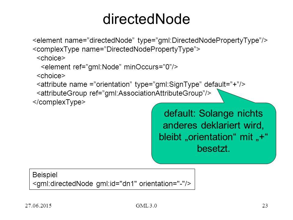 """27.06.2015GML 3.023 default: Solange nichts anderes deklariert wird, bleibt """"orientation mit """"+ besetzt."""