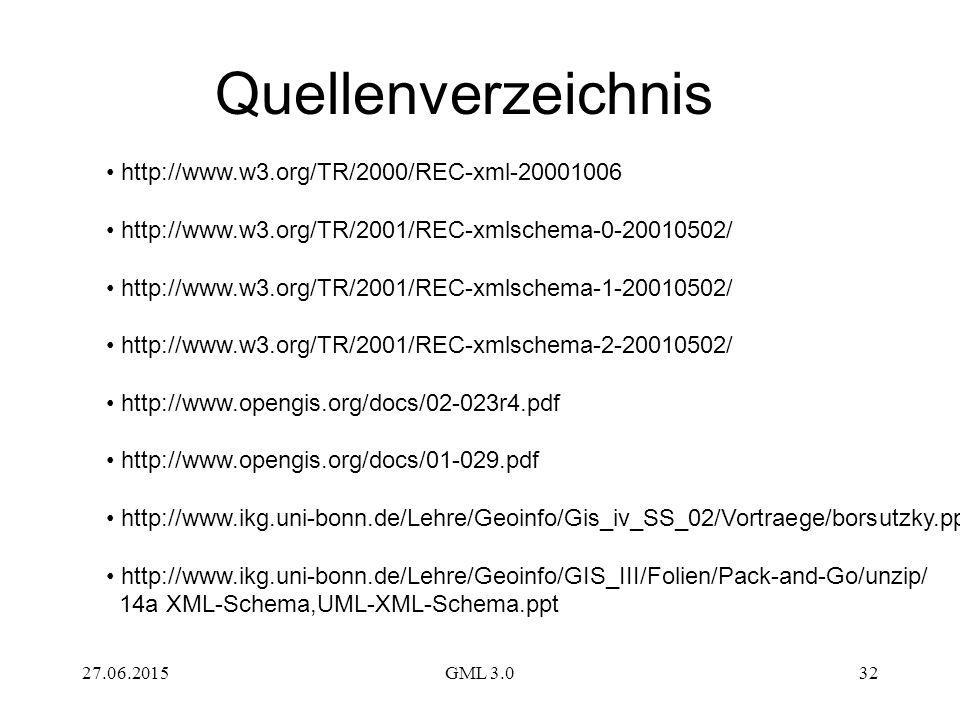 27.06.2015GML 3.032 Quellenverzeichnis http://www.w3.org/TR/2000/REC-xml-20001006 http://www.w3.org/TR/2001/REC-xmlschema-0-20010502/ http://www.w3.org/TR/2001/REC-xmlschema-1-20010502/ http://www.w3.org/TR/2001/REC-xmlschema-2-20010502/ http://www.opengis.org/docs/02-023r4.pdf http://www.opengis.org/docs/01-029.pdf http://www.ikg.uni-bonn.de/Lehre/Geoinfo/Gis_iv_SS_02/Vortraege/borsutzky.ppt http://www.ikg.uni-bonn.de/Lehre/Geoinfo/GIS_III/Folien/Pack-and-Go/unzip/ 14a XML-Schema,UML-XML-Schema.ppt