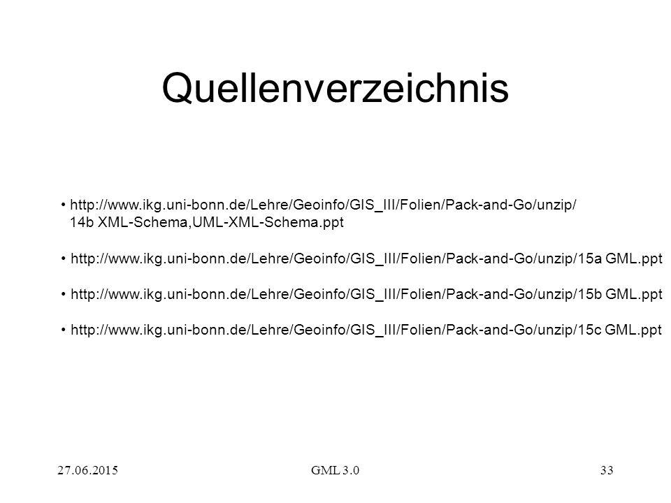 27.06.2015GML 3.033 Quellenverzeichnis http://www.ikg.uni-bonn.de/Lehre/Geoinfo/GIS_III/Folien/Pack-and-Go/unzip/ 14b XML-Schema,UML-XML-Schema.ppt http://www.ikg.uni-bonn.de/Lehre/Geoinfo/GIS_III/Folien/Pack-and-Go/unzip/15a GML.ppt http://www.ikg.uni-bonn.de/Lehre/Geoinfo/GIS_III/Folien/Pack-and-Go/unzip/15b GML.ppt http://www.ikg.uni-bonn.de/Lehre/Geoinfo/GIS_III/Folien/Pack-and-Go/unzip/15c GML.ppt