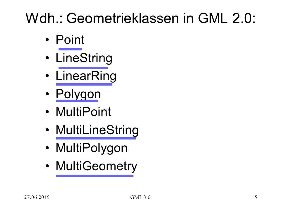 27.06.2015GML 3.05 Wdh.: Geometrieklassen in GML 2.0: Point LineString LinearRing Polygon MultiPoint MultiLineString MultiPolygon MultiGeometry