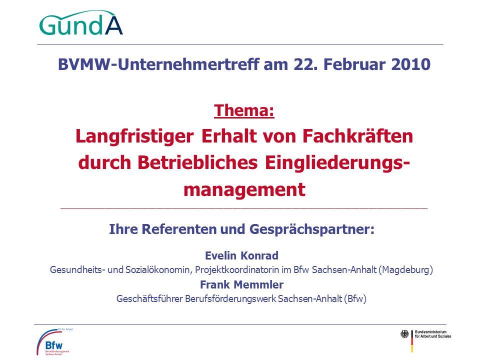 Ihre Referenten und Gesprächspartner: Evelin Konrad Gesundheits- und Sozialökonomin, Projektkoordinatorin im Bfw Sachsen-Anhalt (Magdeburg) Frank Memm
