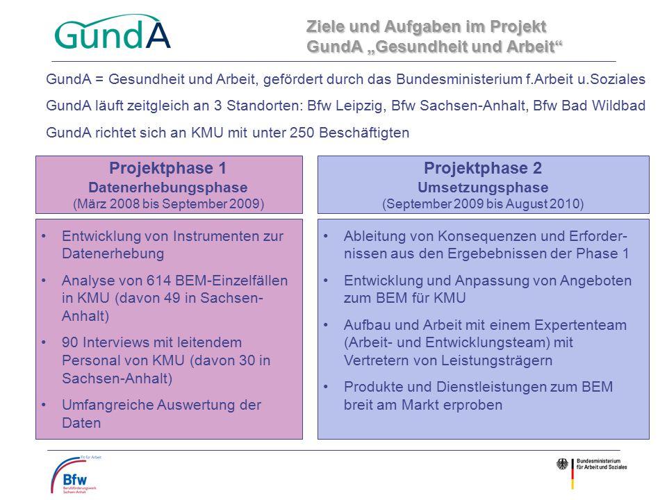 Projektphase 1 Datenerhebungsphase (März 2008 bis September 2009) Projektphase 2 Umsetzungsphase (September 2009 bis August 2010) Entwicklung von Inst