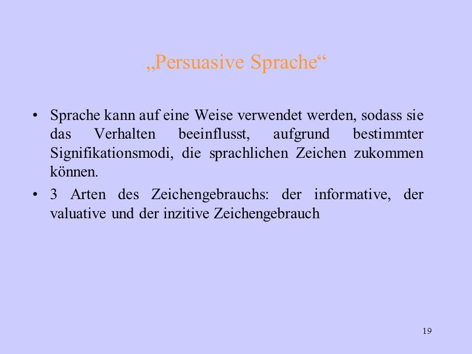 """19 """"Persuasive Sprache Sprache kann auf eine Weise verwendet werden, sodass sie das Verhalten beeinflusst, aufgrund bestimmter Signifikationsmodi, die sprachlichen Zeichen zukommen können."""