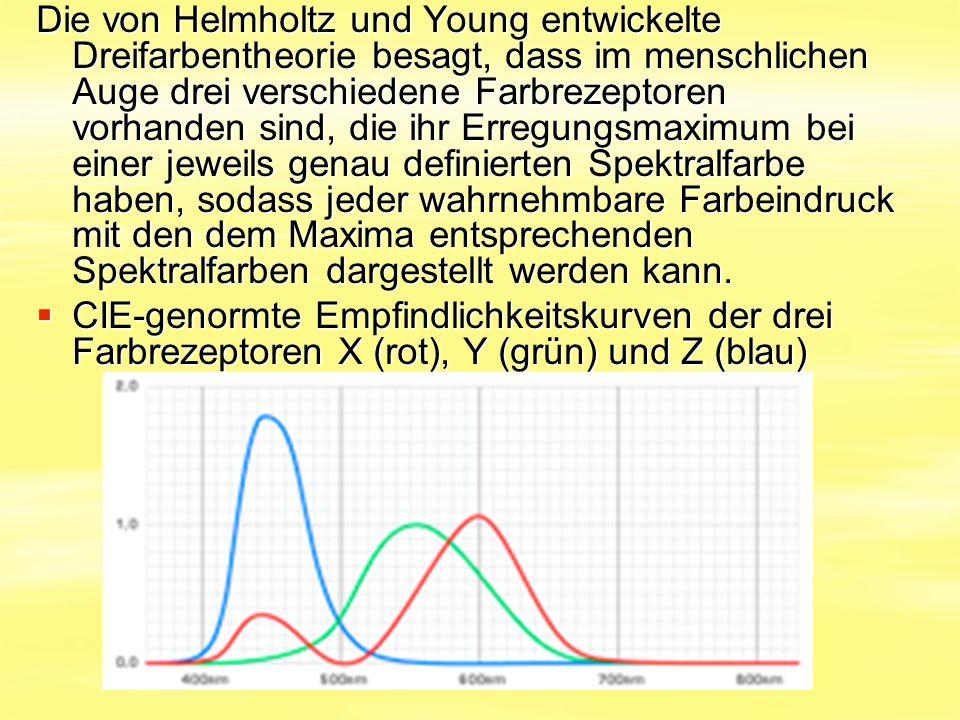 Die von Helmholtz und Young entwickelte Dreifarbentheorie besagt, dass im menschlichen Auge drei verschiedene Farbrezeptoren vorhanden sind, die ihr E