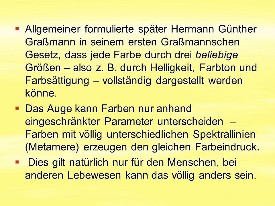  Allgemeiner formulierte später Hermann Günther Graßmann in seinem ersten Graßmannschen Gesetz, dass jede Farbe durch drei beliebige Größen – also z.