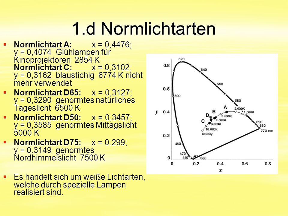 1.d Normlichtarten  Normlichtart A: x = 0,4476; y = 0,4074 Glühlampen für Kinoprojektoren 2854 K Normlichtart C: x = 0,3102; y = 0,3162 blaustichig 6