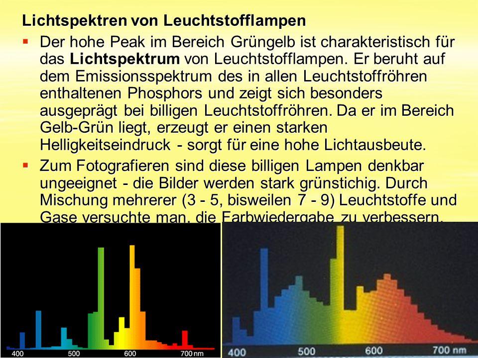 Lichtspektren von Leuchtstofflampen Lichtspektren von Leuchtstofflampen  Der hohe Peak im Bereich Grüngelb ist charakteristisch für das Lichtspektrum
