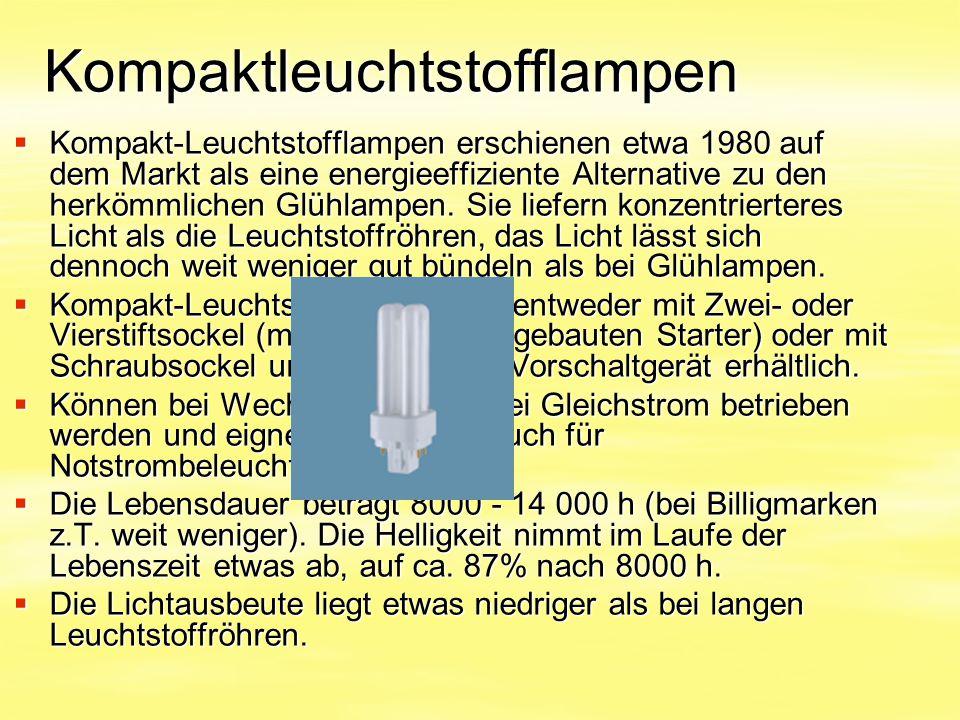 Kompaktleuchtstofflampen  Kompakt-Leuchtstofflampen erschienen etwa 1980 auf dem Markt als eine energieeffiziente Alternative zu den herkömmlichen Gl
