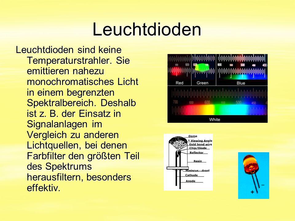 Leuchtdioden Leuchtdioden sind keine Temperaturstrahler. Sie emittieren nahezu monochromatisches Licht in einem begrenzten Spektralbereich. Deshalb is