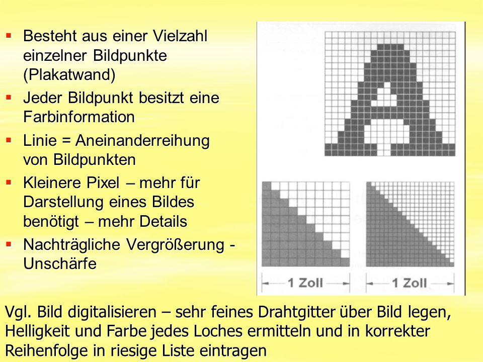  Besteht aus einer Vielzahl einzelner Bildpunkte (Plakatwand)  Jeder Bildpunkt besitzt eine Farbinformation  Linie = Aneinanderreihung von Bildpunk