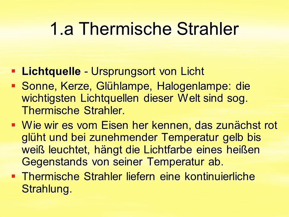 1.a Thermische Strahler  Lichtquelle - Ursprungsort von Licht  Sonne, Kerze, Glühlampe, Halogenlampe: die wichtigsten Lichtquellen dieser Welt sind