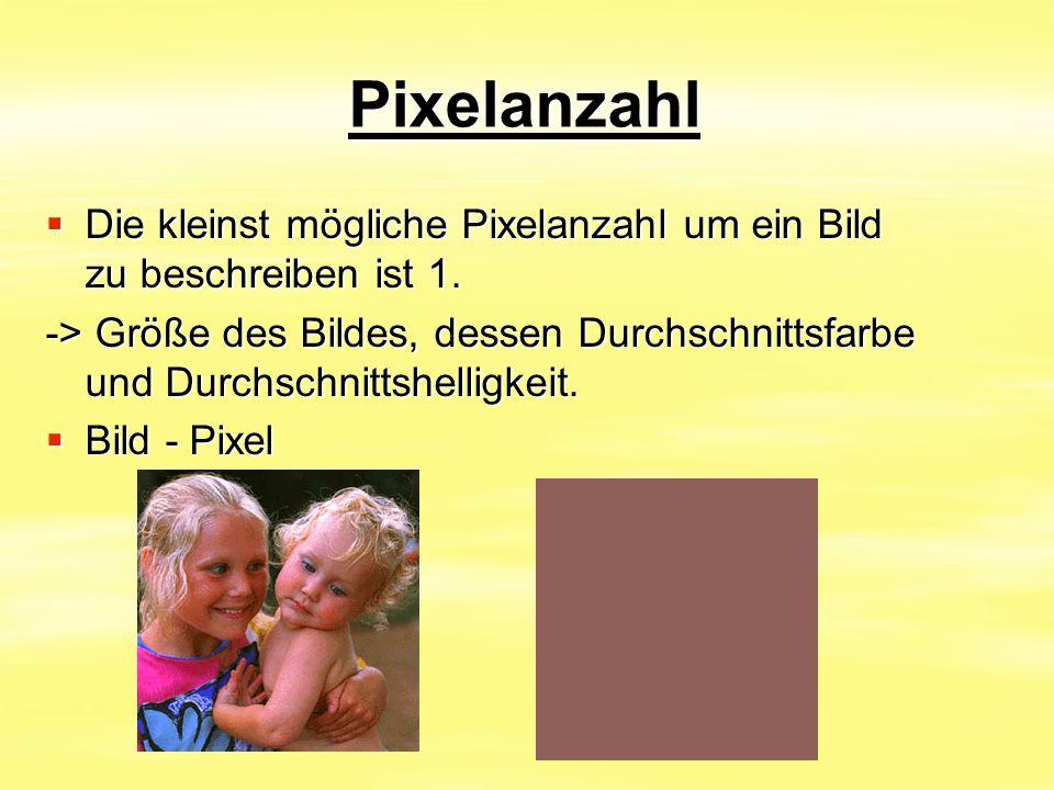 Pixelanzahl  Die kleinst mögliche Pixelanzahl um ein Bild zu beschreiben ist 1. -> Größe des Bildes, dessen Durchschnittsfarbe und Durchschnittshelli