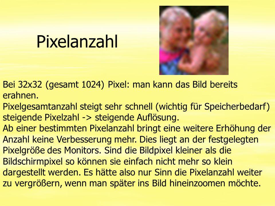Pixelanzahl Bei 32x32 (gesamt 1024) Pixel: man kann das Bild bereits erahnen. Pixelgesamtanzahl steigt sehr schnell (wichtig für Speicherbedarf) steig